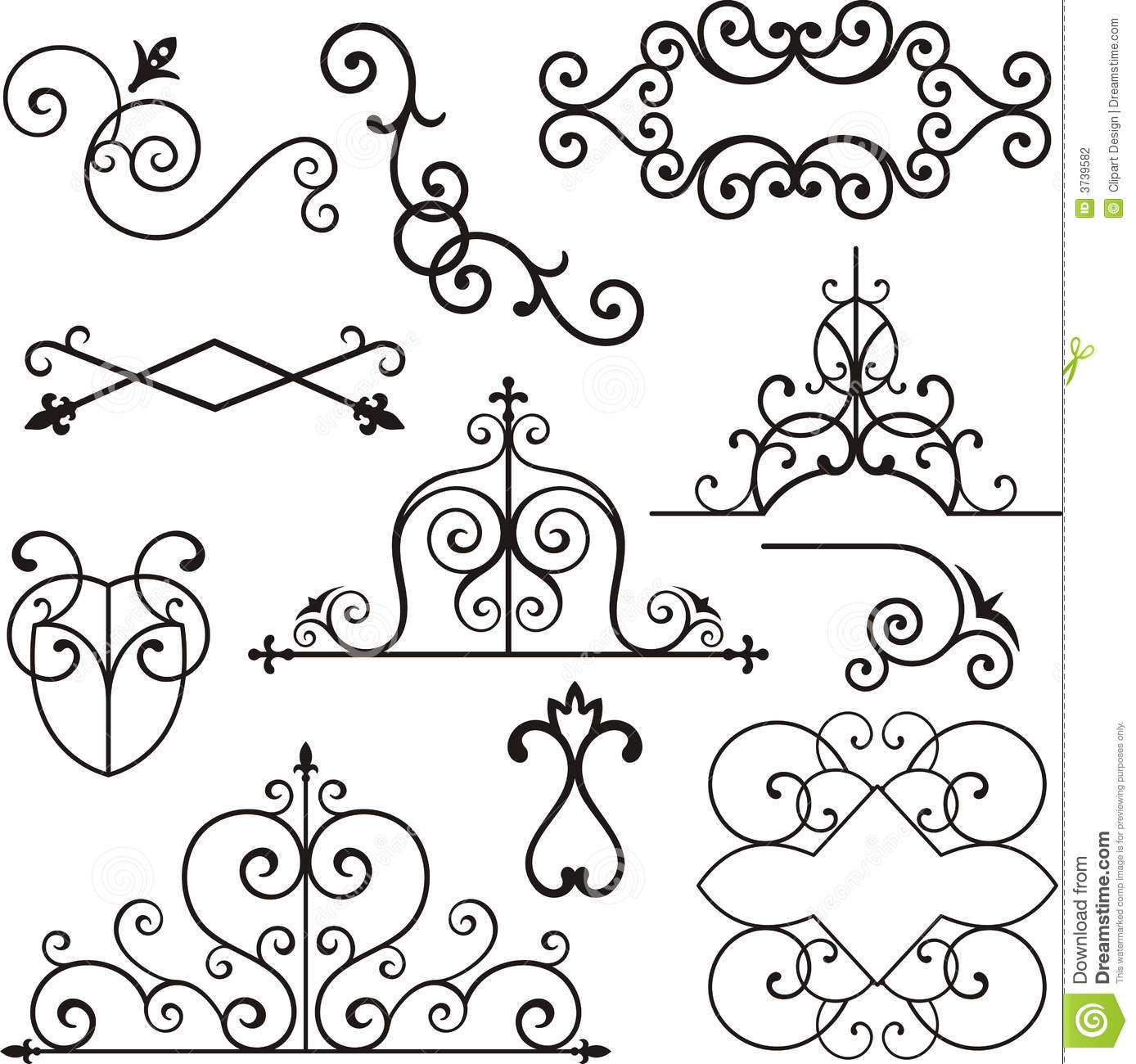 Wrough Iron Ornaments Stock Vector Image Of Header Deco