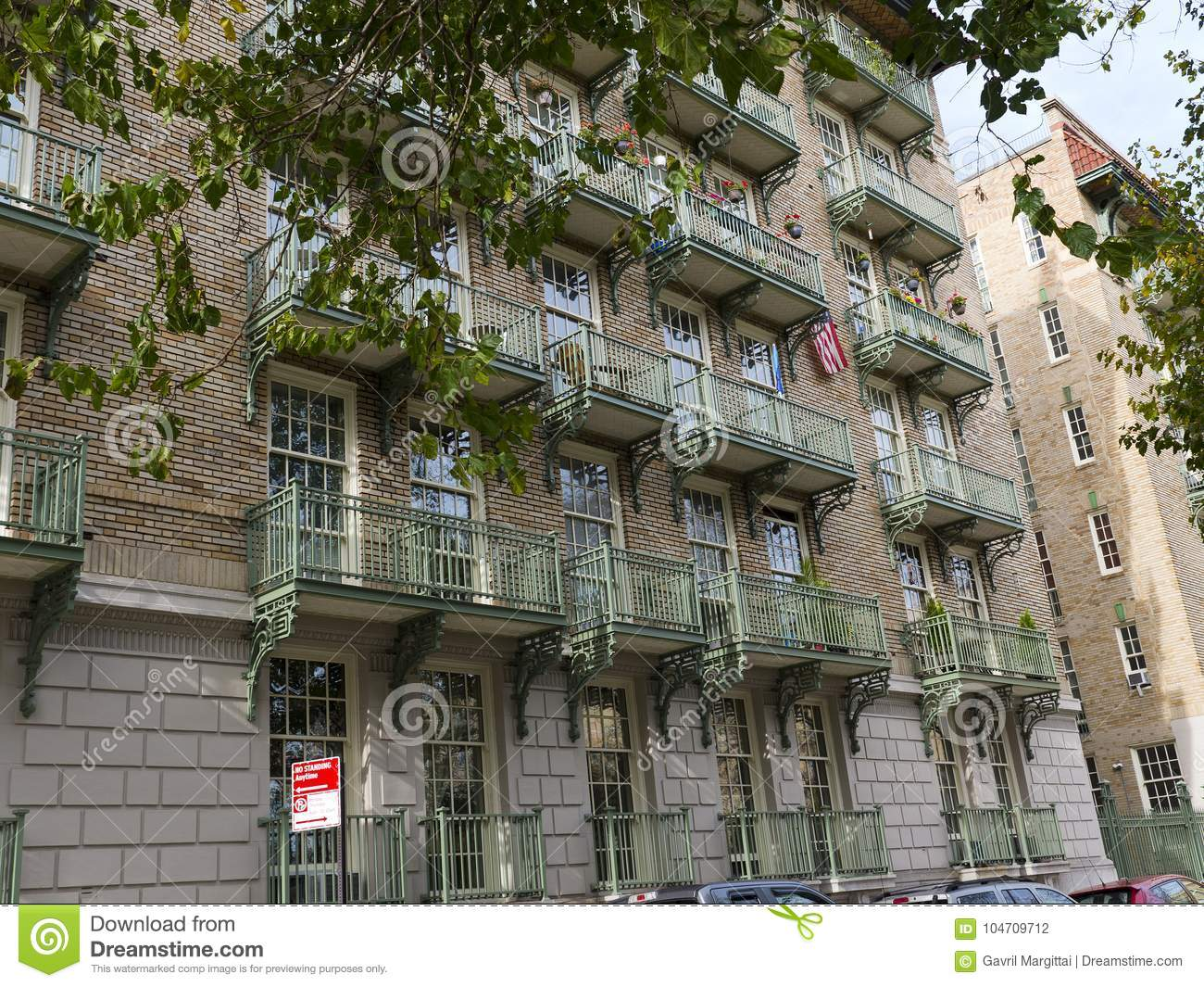 Captivating Wrought Iron Balconies On A Large Apartment Brick Building In Manhattan New  York