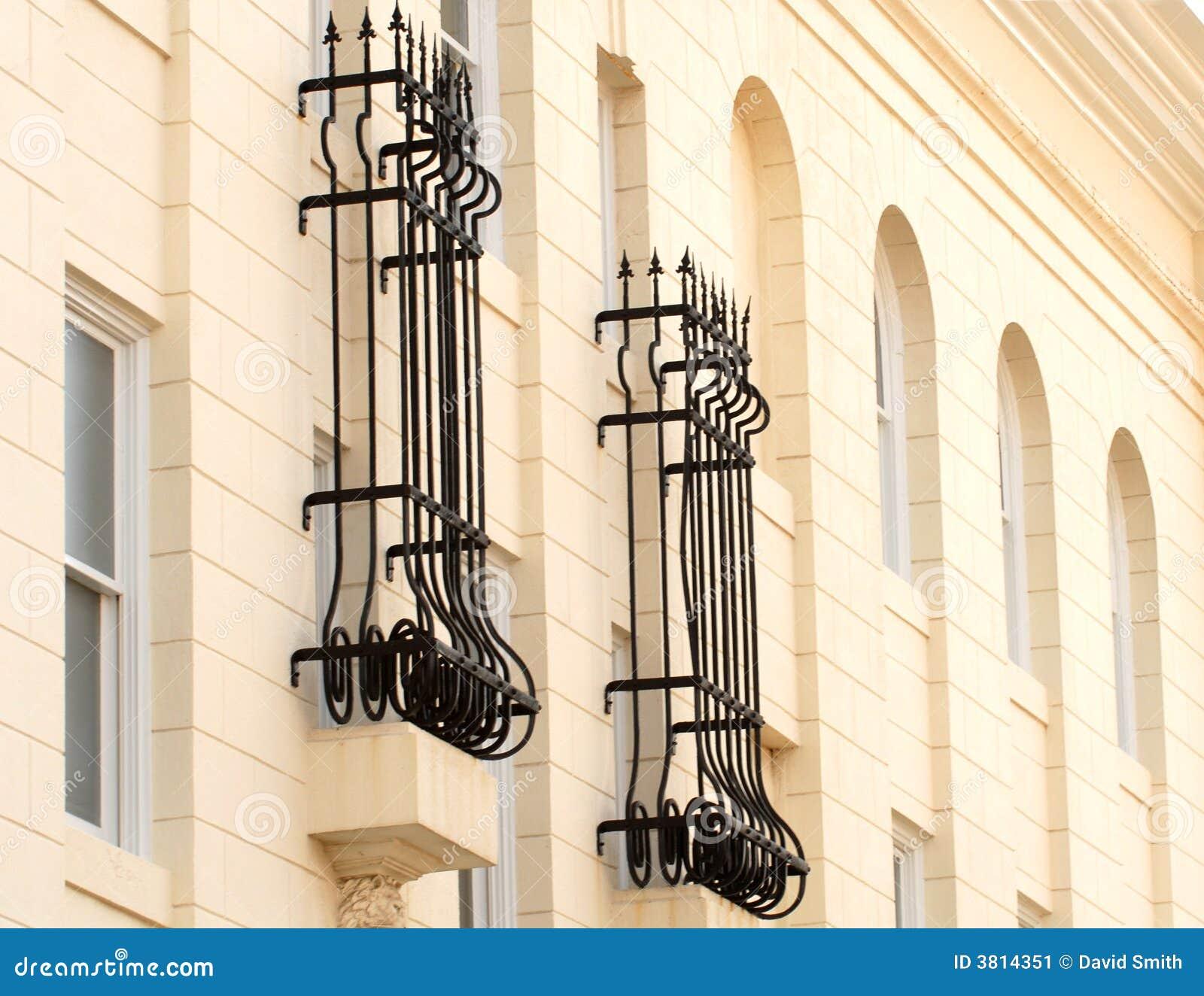 Wrought Iron Bars Around Windows Stock Image Image Of
