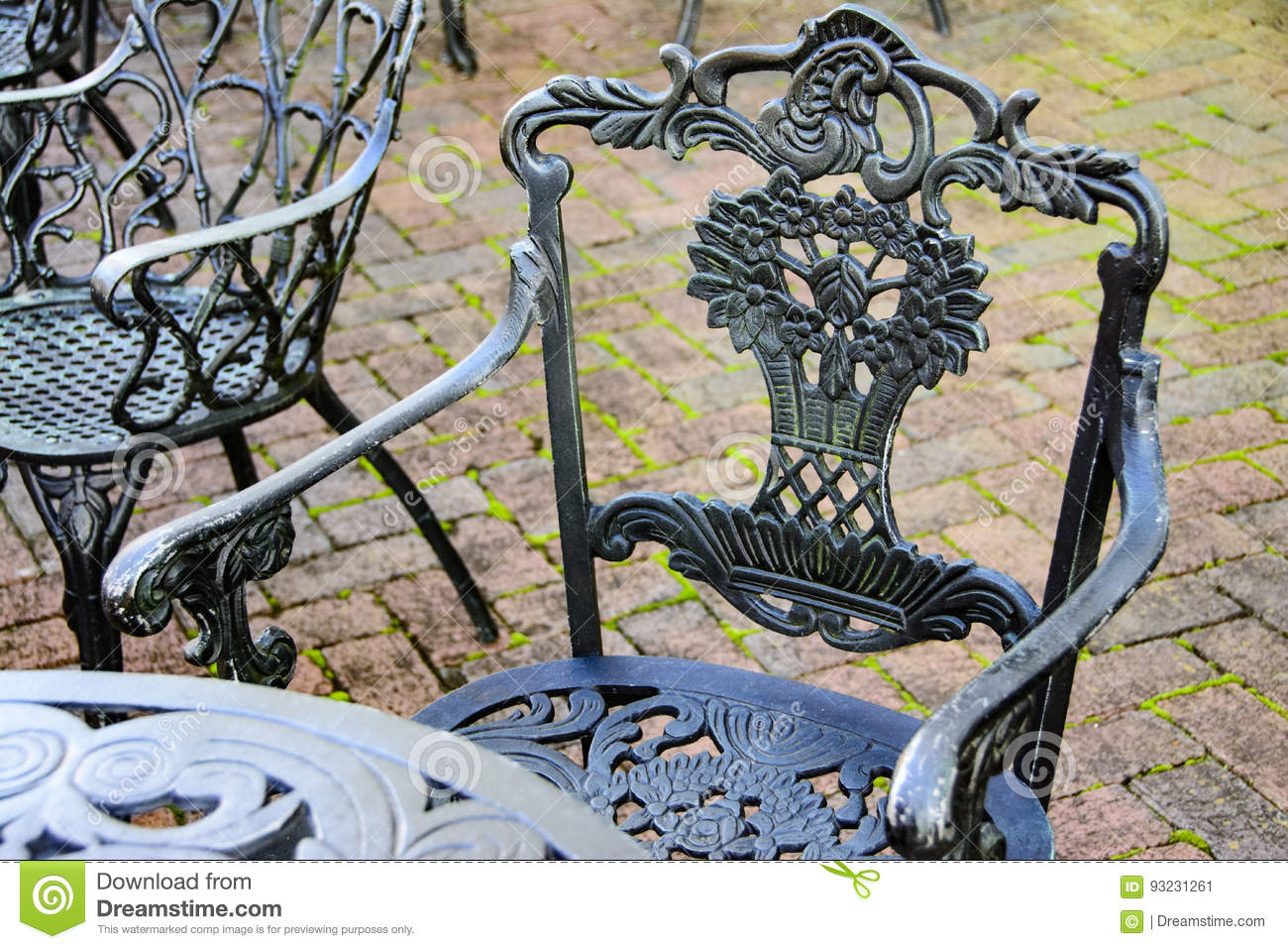 Wrought Iron Bistro Table And Chair Stock Image Image Of Iron