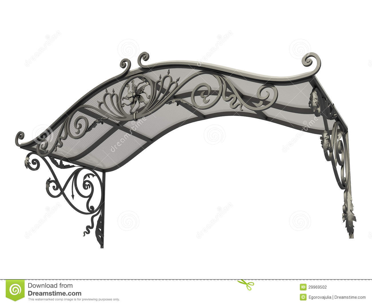 Wrought iron canopy stock photography image