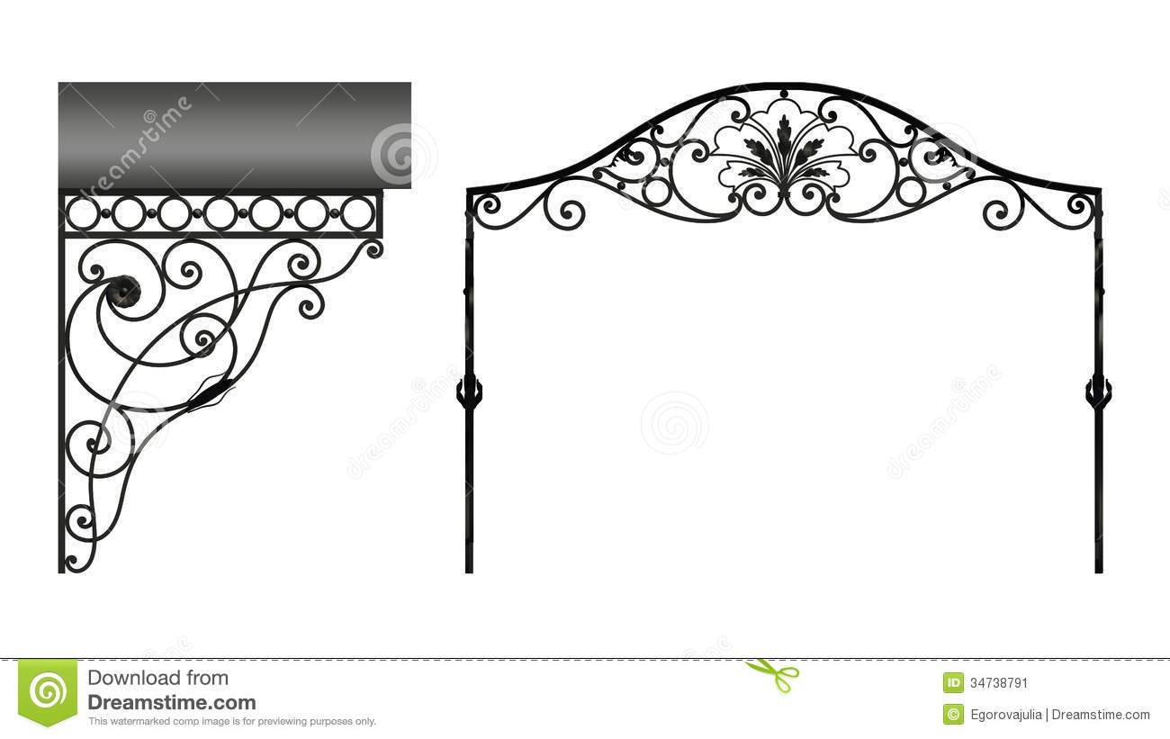 Wrought iron canopy stock illustration image of