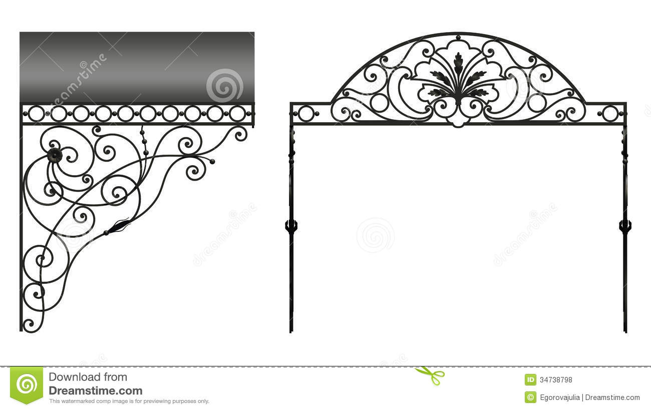 Wrought iron canopy  sc 1 st  Dreamstime.com & Wrought iron canopy stock illustration. Illustration of metal ...
