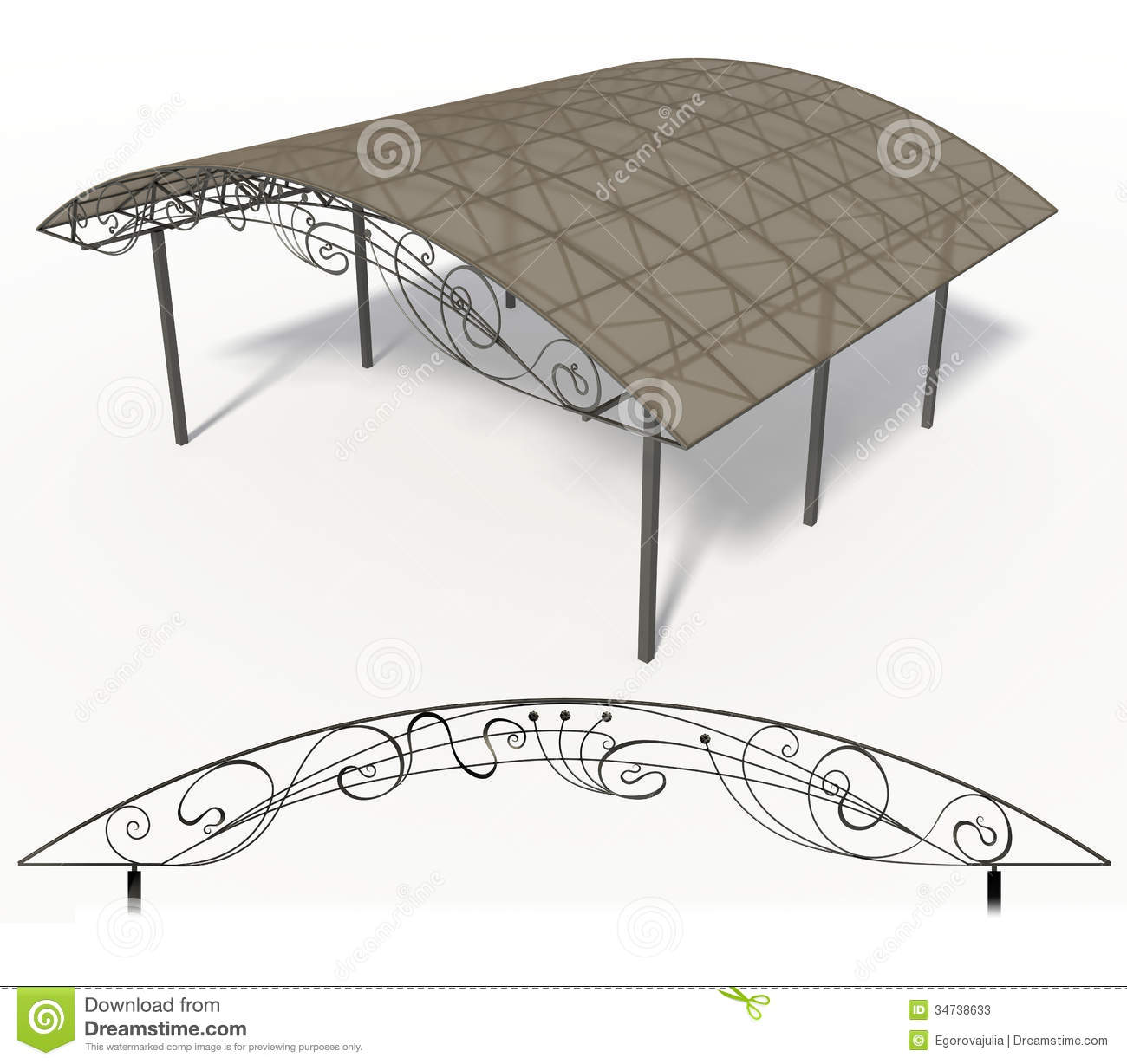 Wrought iron canopy  sc 1 st  Dreamstime.com & Wrought iron canopy stock illustration. Image of illustration ...