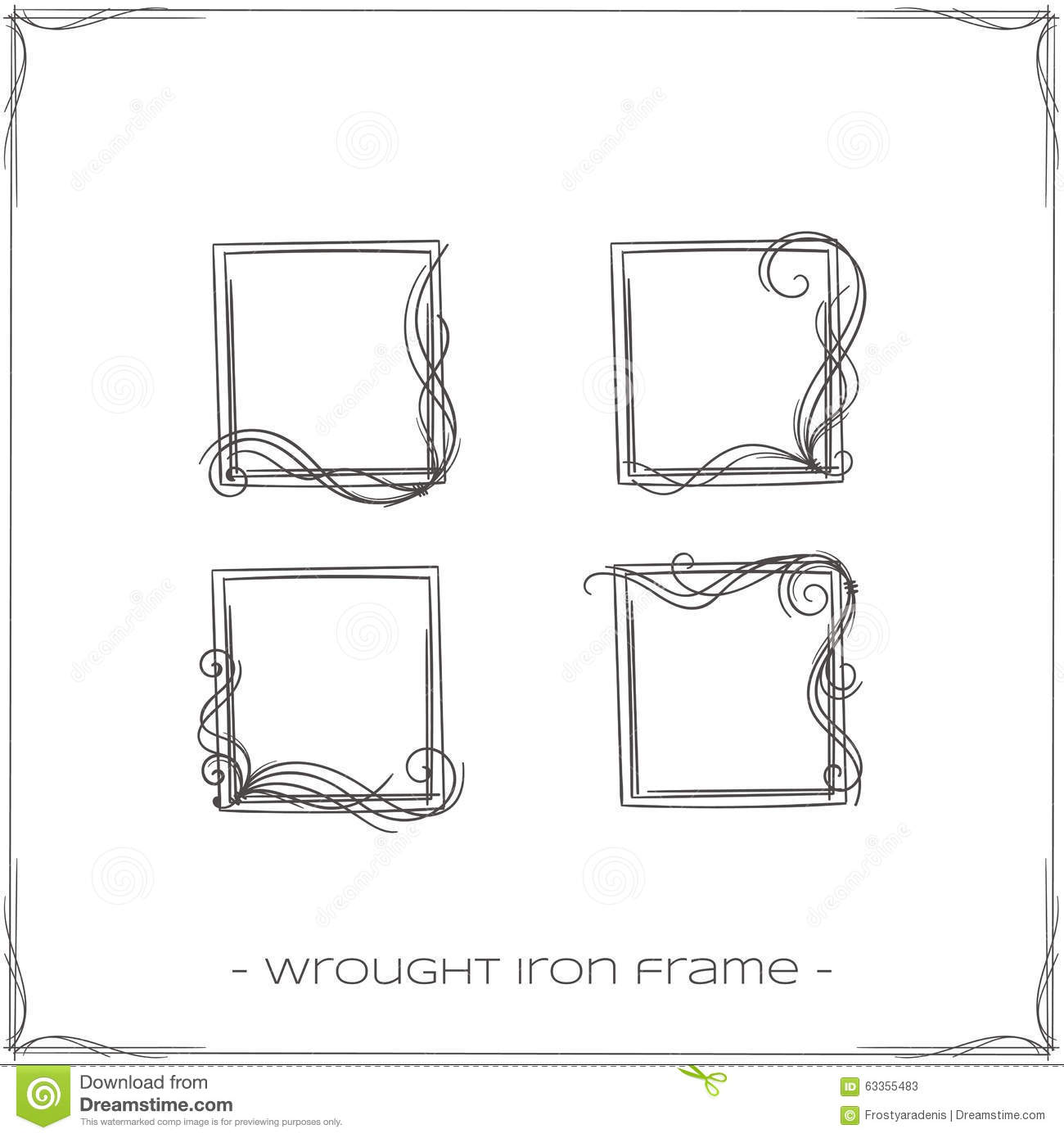 Wrought Iron Frame Five stock vector. Illustration of element - 63355483