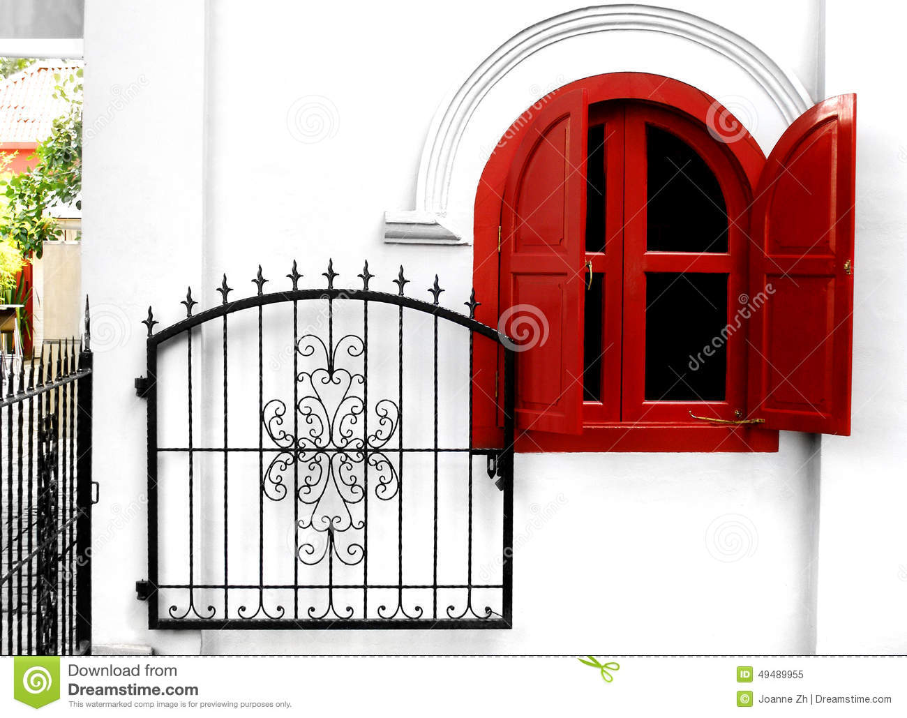 Wrought Iron Garden Gate Stock Photo Image 49489955
