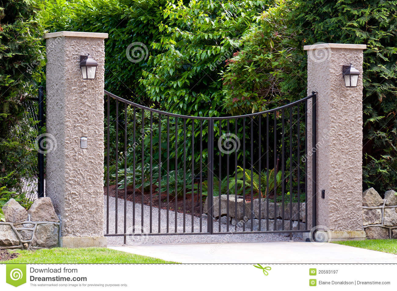 Wrought iron gate stock image of gateway garden