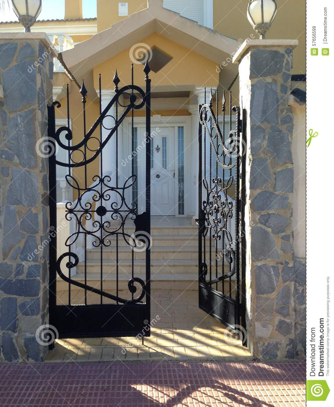 Wrought Iron Gate Stock Image Image Of Door Iron Partly 57656599