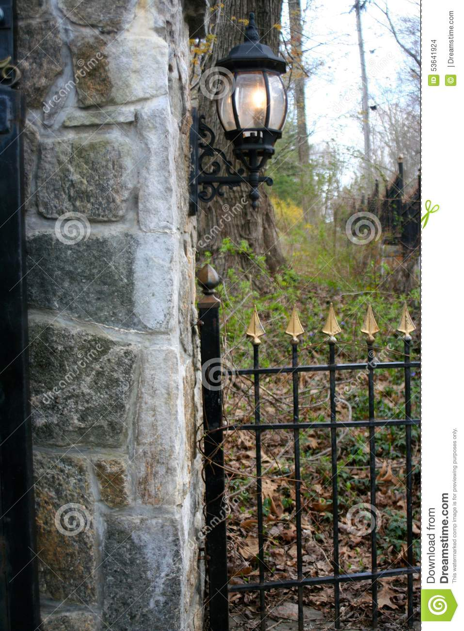 Wrought Iron Gate Fence And Lamp Stock Photo Image Of