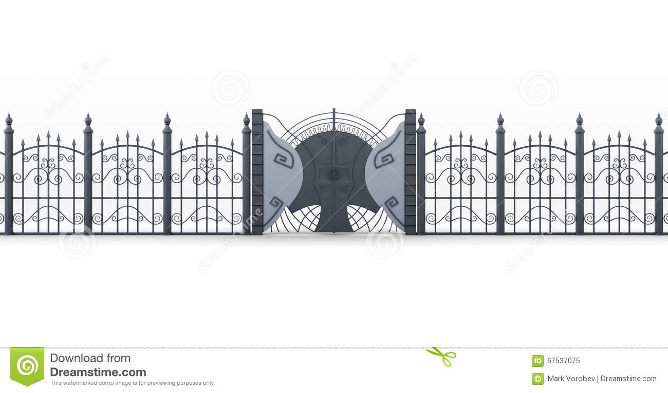Wrought iron gate with fence on white background d