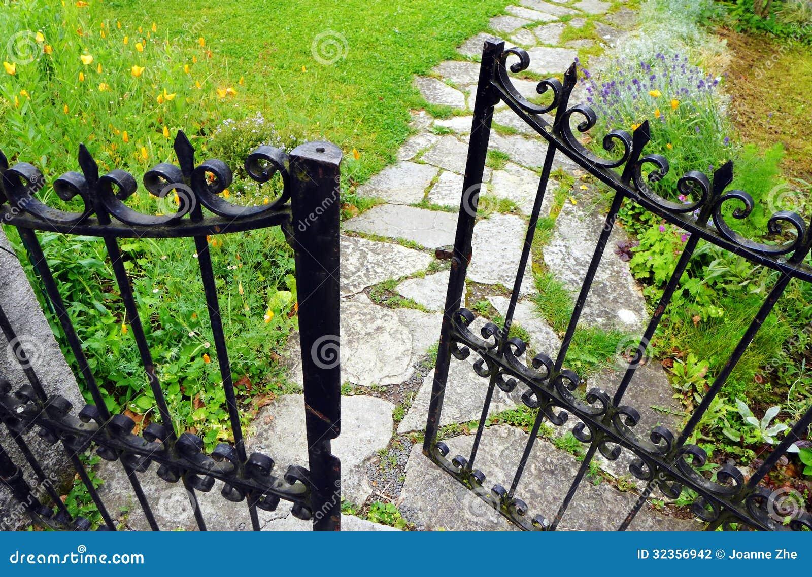Wrought Iron Gate, Garden Stone Path