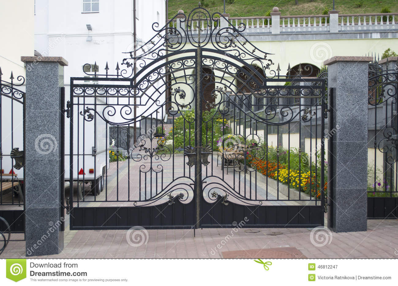 Wrought iron gate in graveyard stock image of