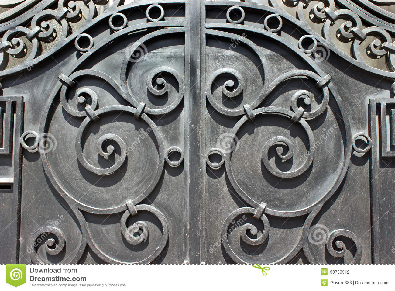 Wrought iron hand made door stock photography image