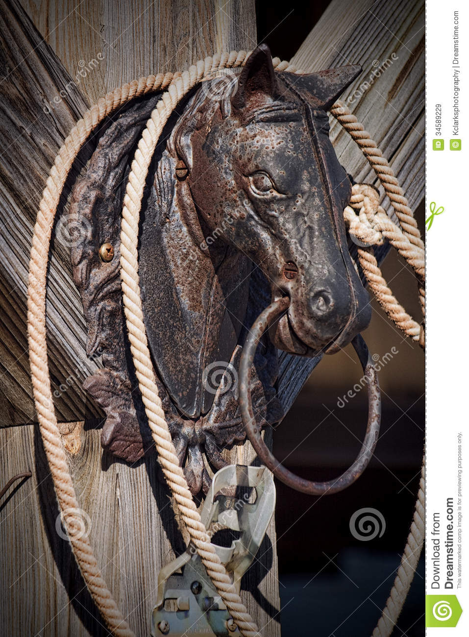 Wrought Iron Horse Head Hitching Post Stock Image Image