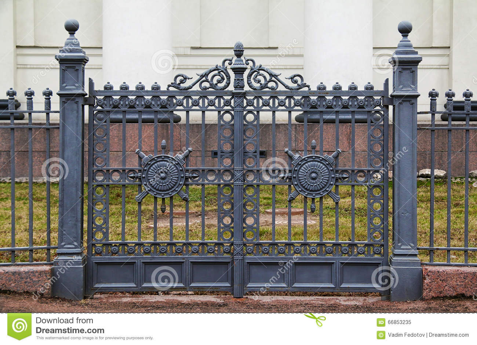 Wrought iron ornamental gates stock photo image