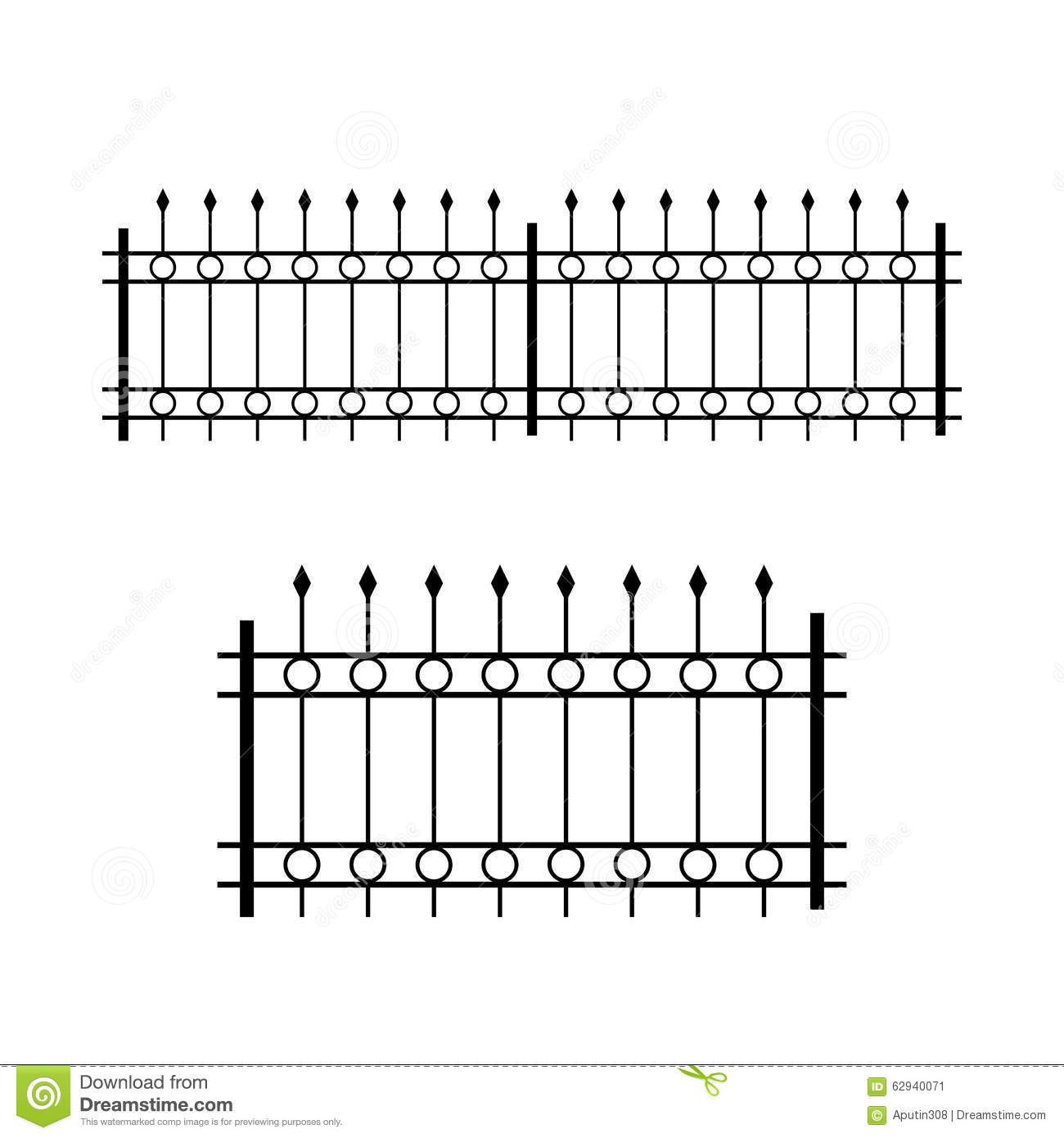Wrought iron patterned fence vector illustration stock