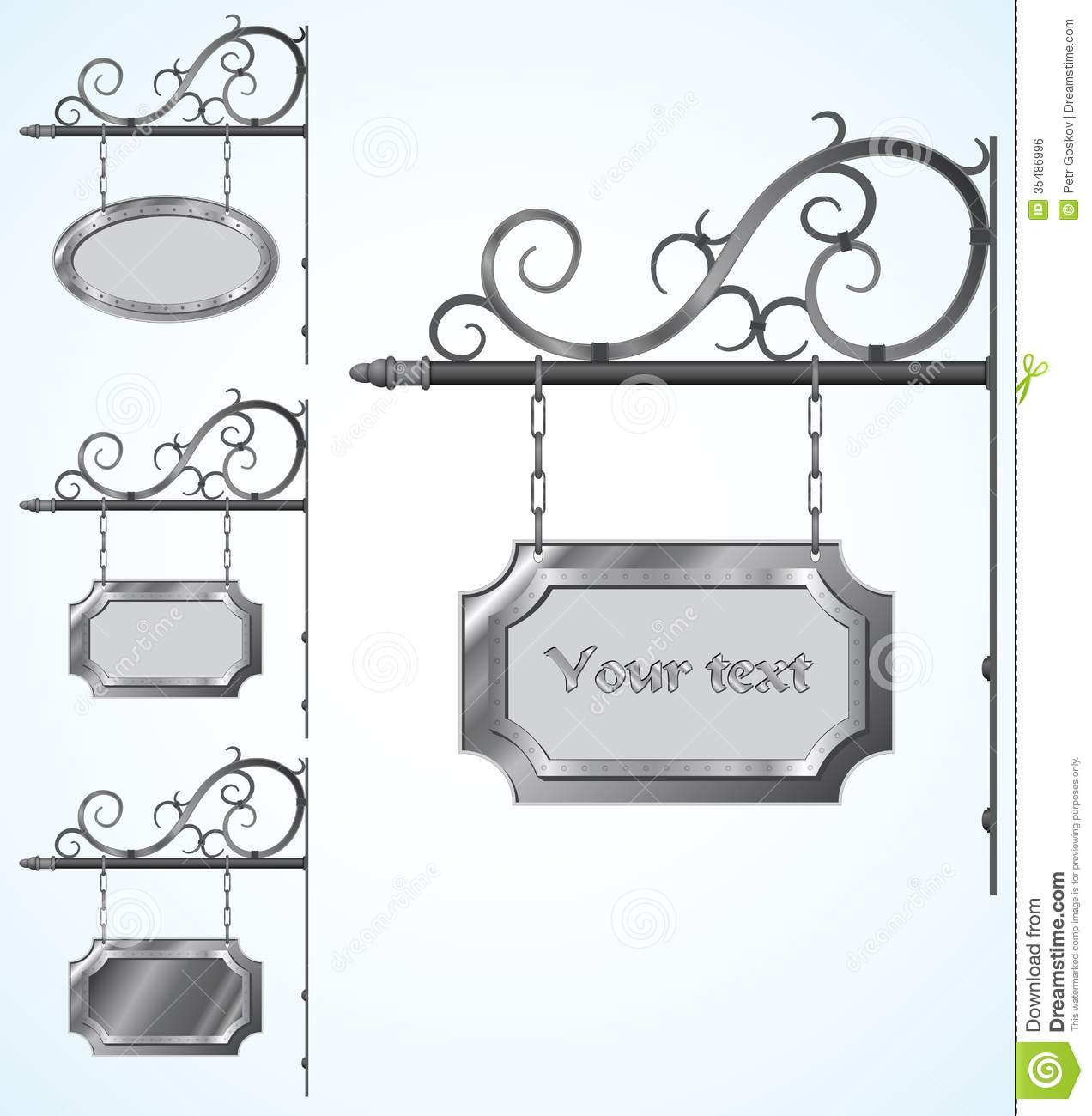 Wrought Iron Signs For Old Fashioned Design Royalty Free