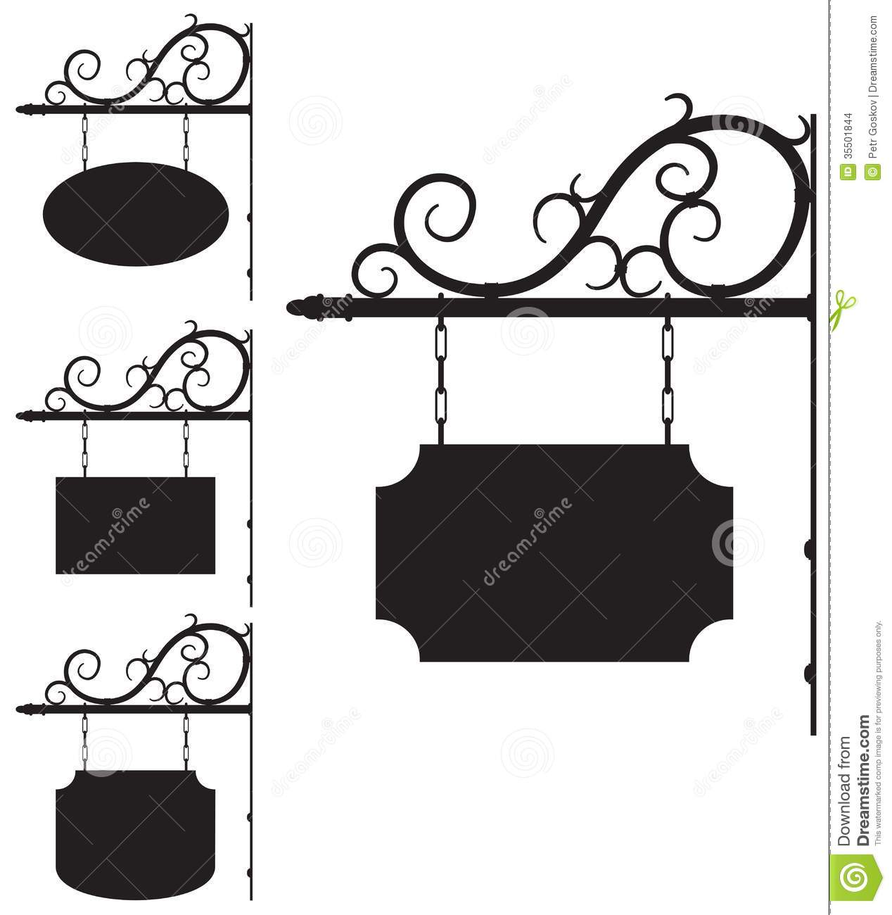 Wrought Iron Signs For Old Fashioned Design Stock Images
