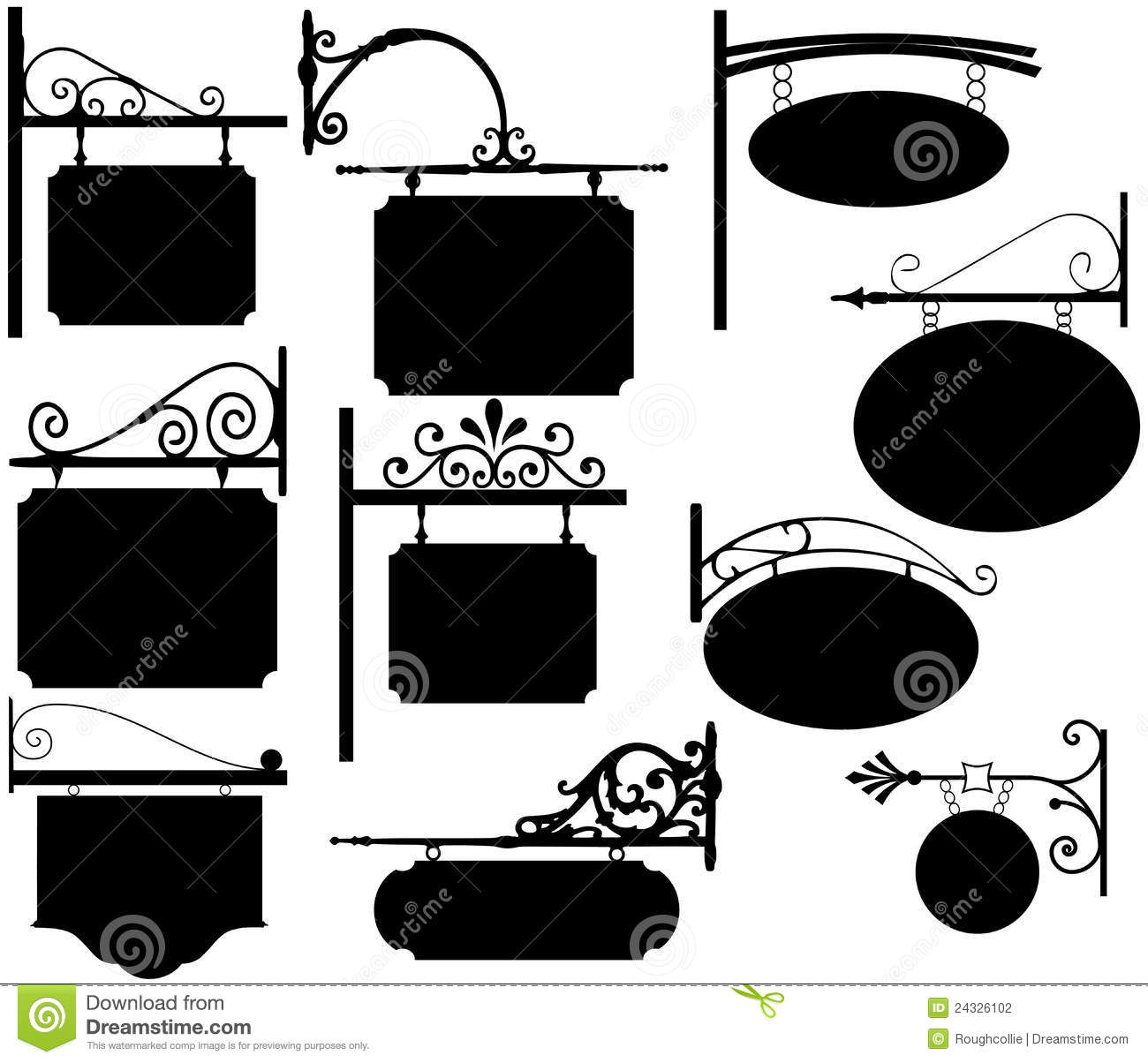 Wrought Iron Signs Vintage Stock Photography Image 24326102