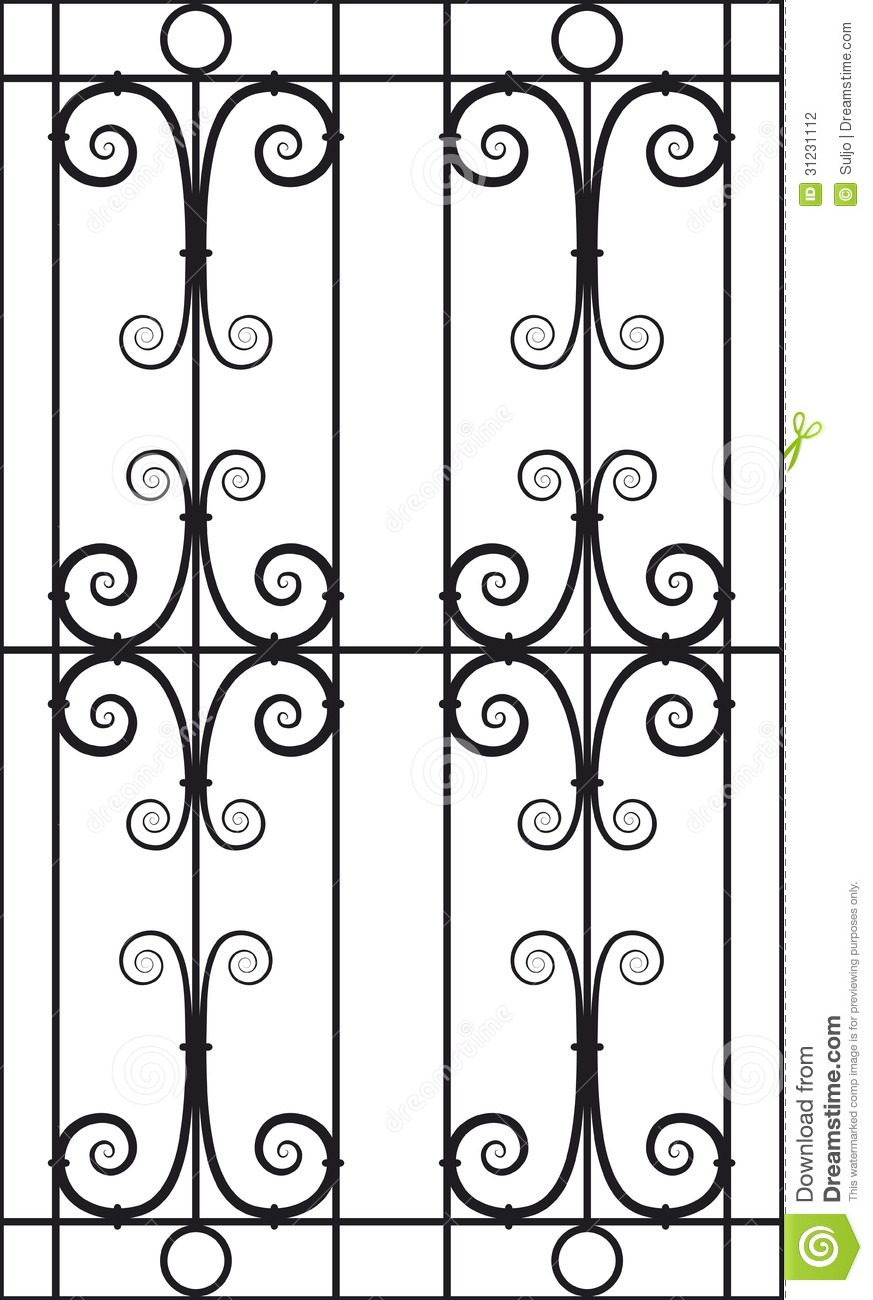 Wrought Iron Window Design Silhouette Cutout Stock