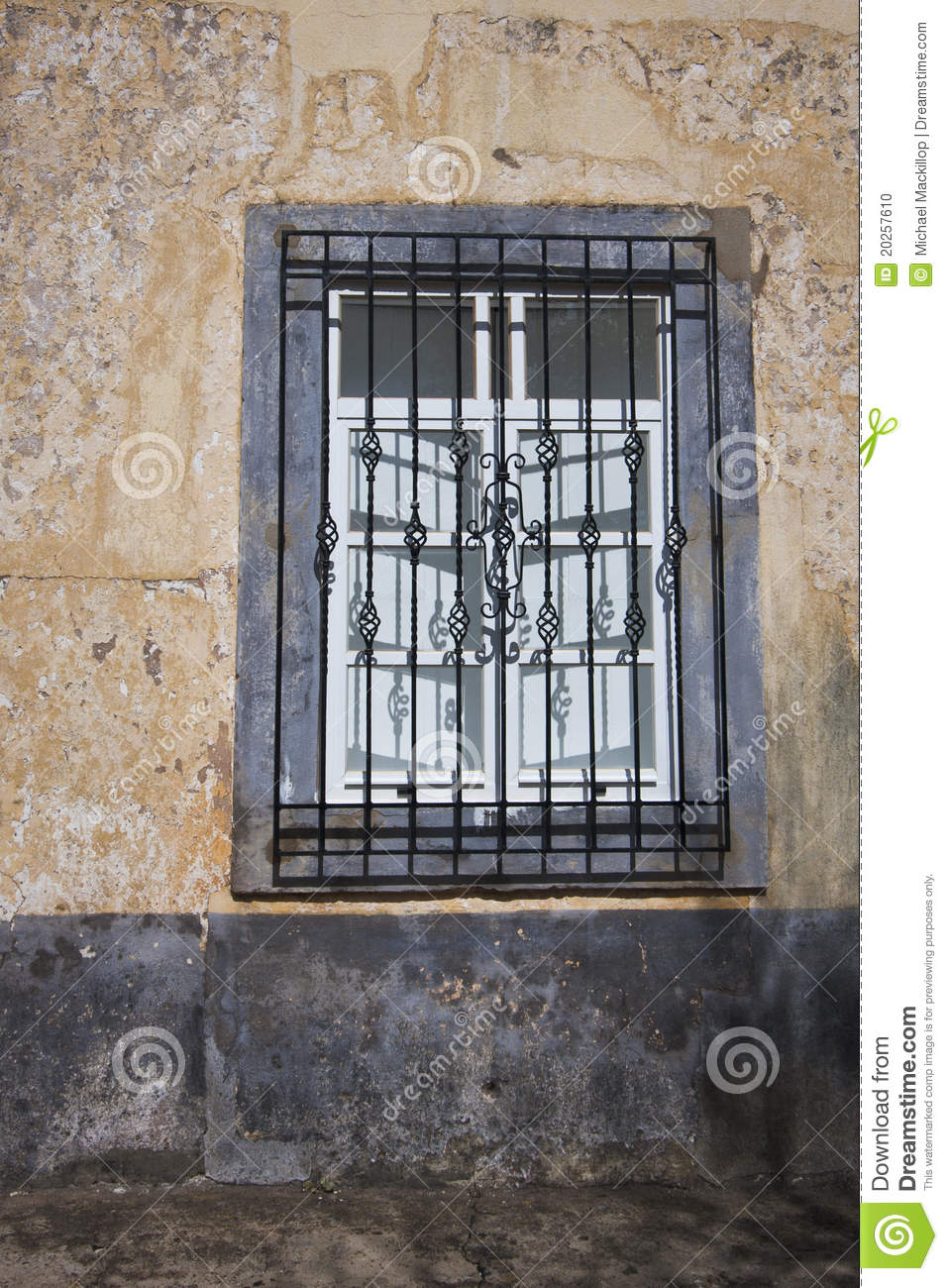 Wrought iron window grille stock photo image of