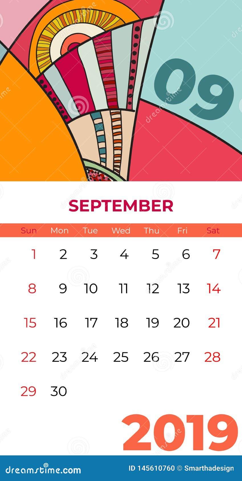 2019 Wrze?nia kalendarza dzisiejszej ustawy abstrakcjonistyczny wektor Biurko, ekran, desktop miesi?c 09,2019, kolorowi 2019 kale