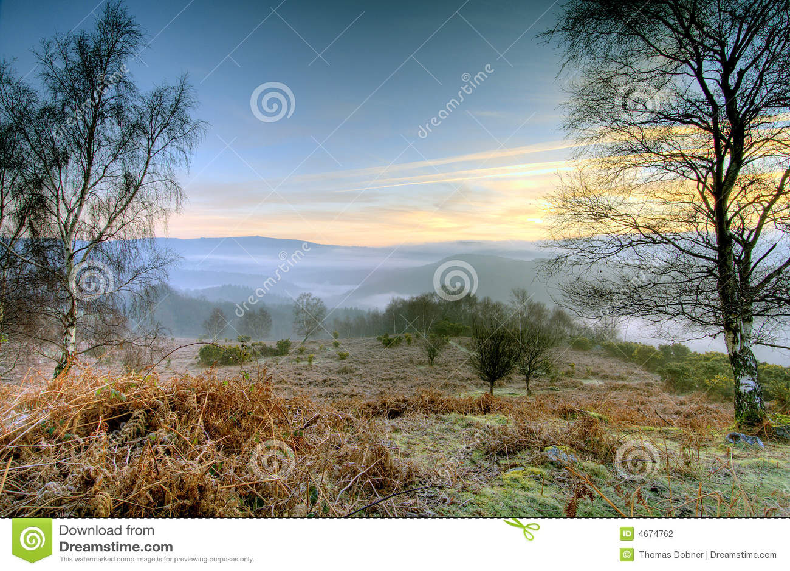 Wschód słońca dartmoor