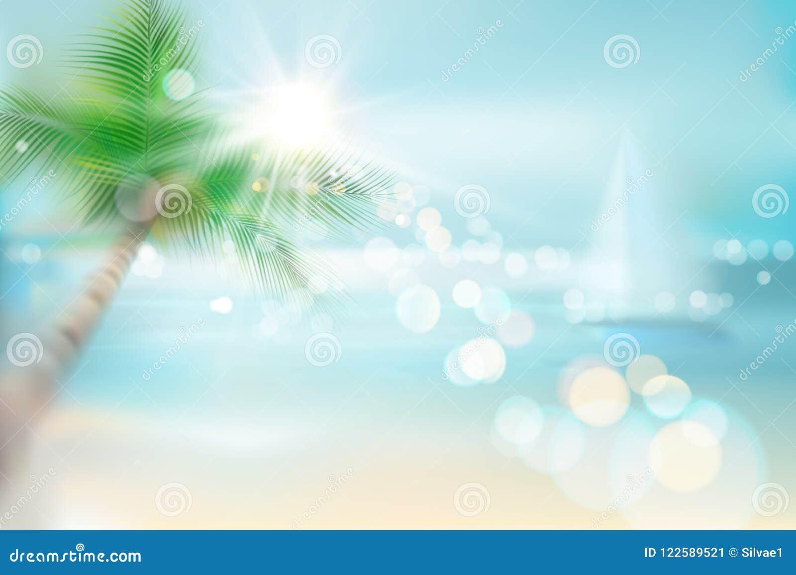 Wschód słońca na plaży plażowy tropikalny widok również zwrócić corel ilustracji wektora