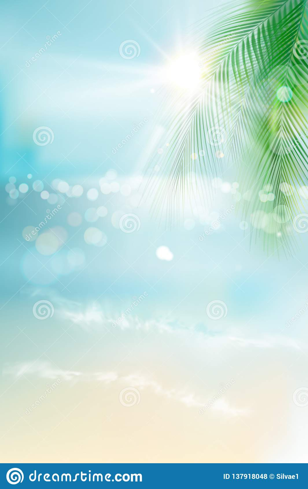 Wschód słońca na plaży Widok pogodna plaża również zwrócić corel ilustracji wektora