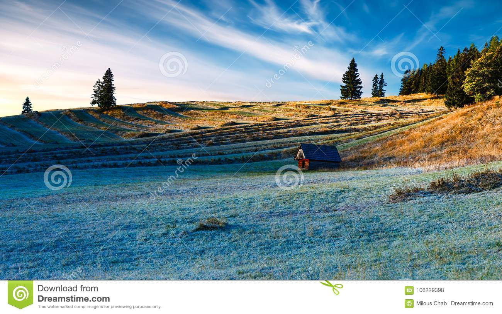 Wschód słońca nad tarasowatymi polami