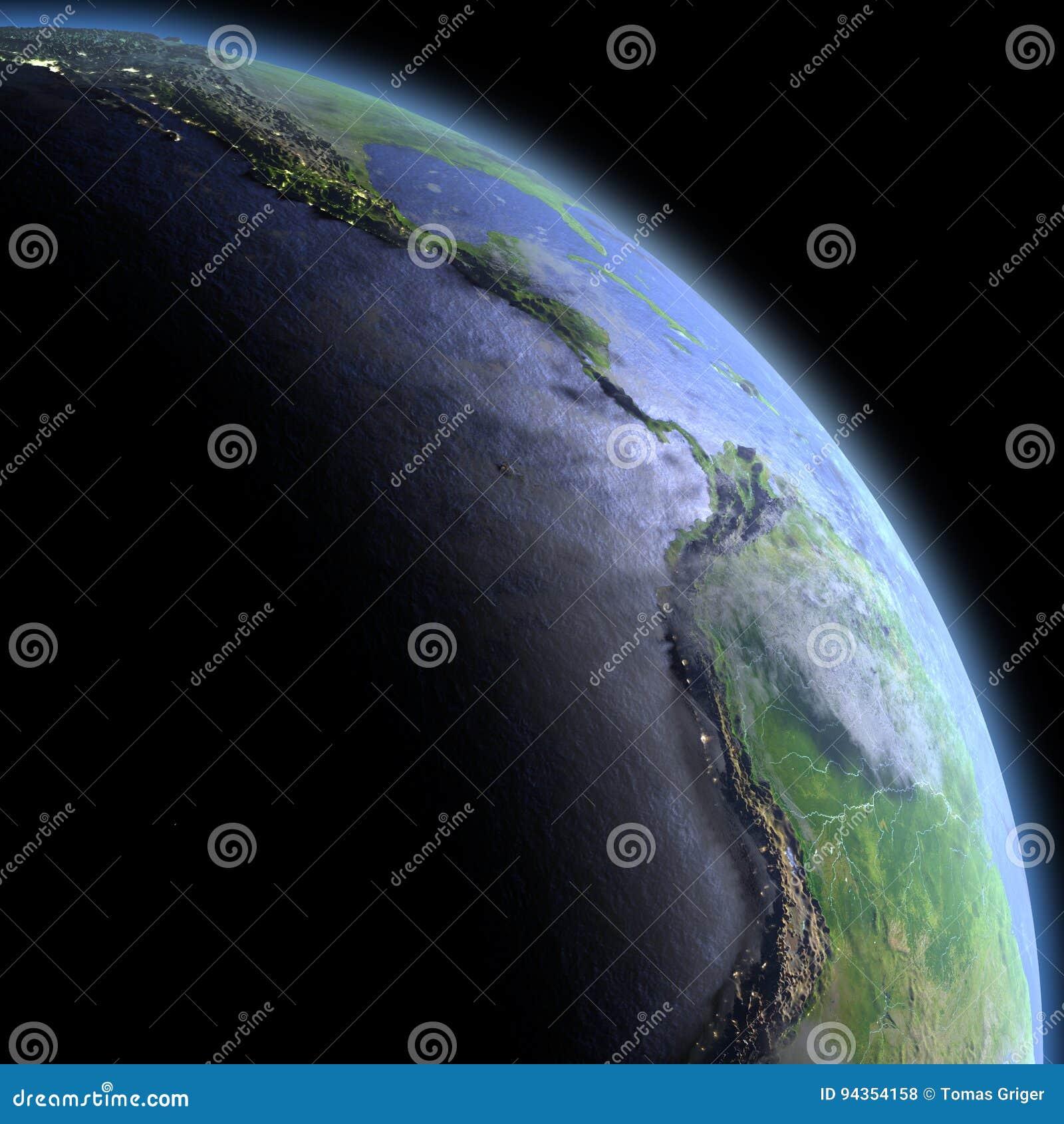 Wschodni Pacyfik od przestrzeni przy świtem