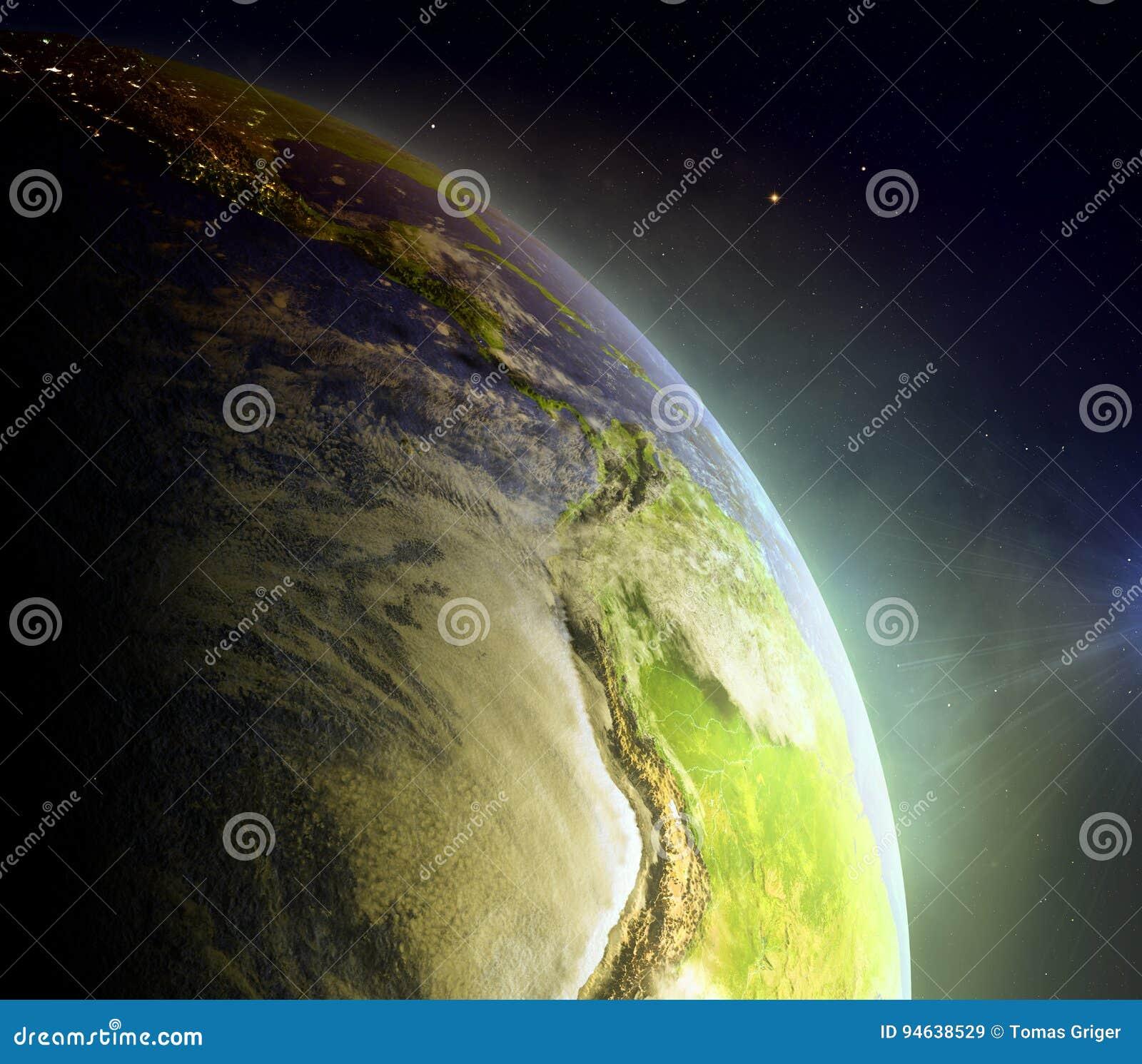 Wschodni Pacyfik od przestrzeni w wschodzie słońca