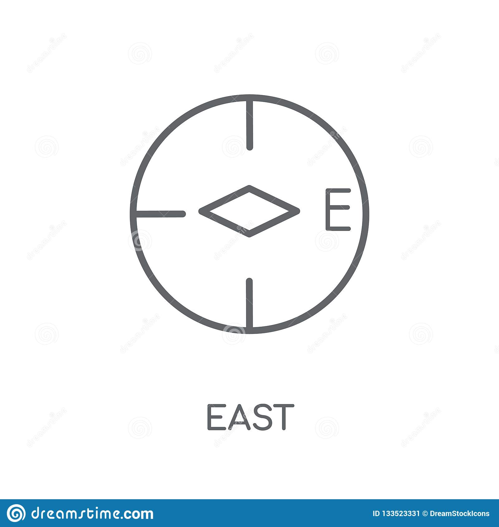 Wschodnia liniowa ikona Nowożytnego konturu logo Wschodni pojęcie na bielu plecy