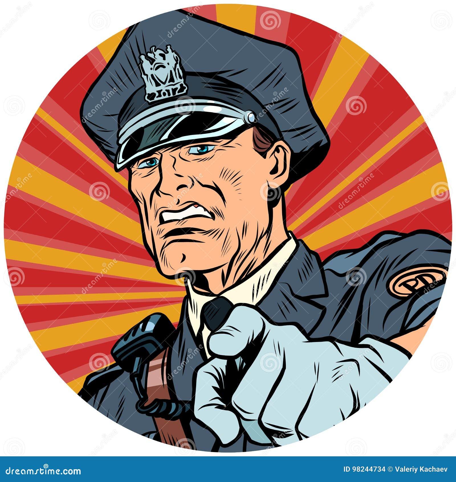 Wskazuje poważną funkcjonariusza policji wystrzału sztuki avatar charakteru ikonę