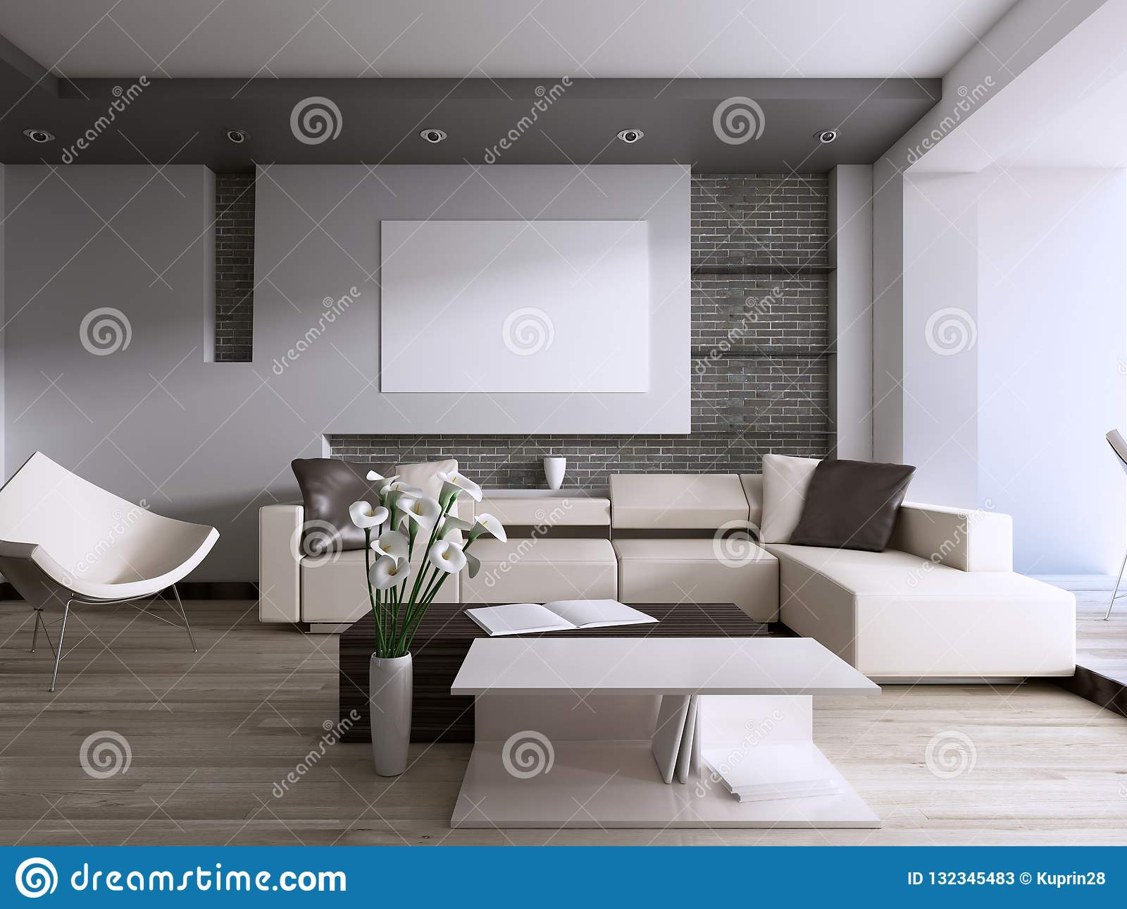 Współczesny żywy pokój z wielkim okno przegapia podwórko