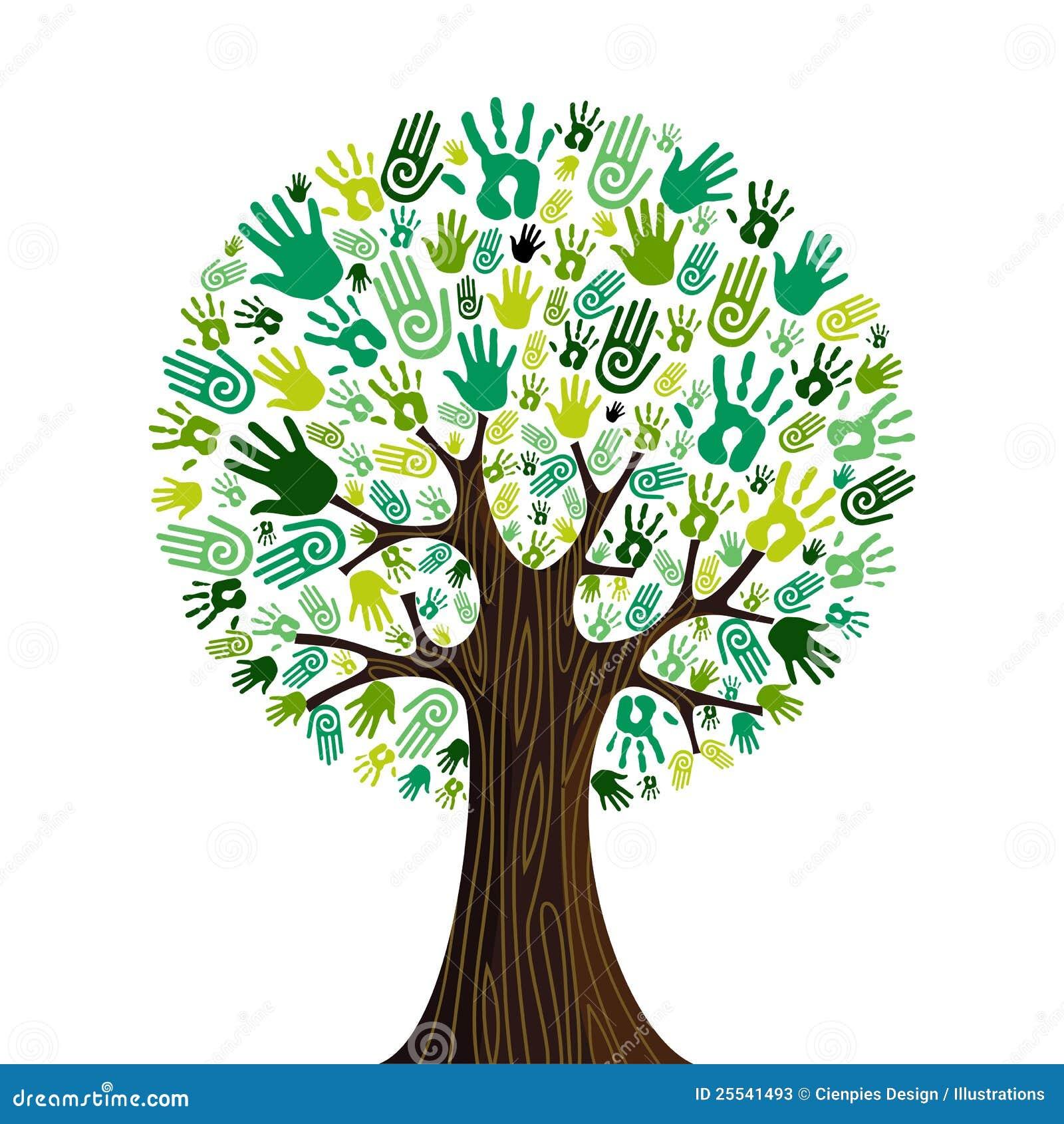 Współpracujący zielone idą drzewne ręki