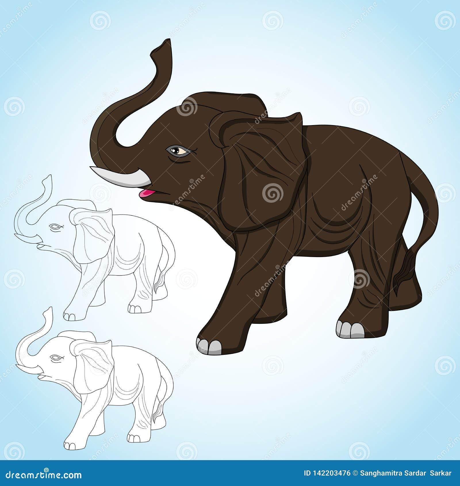 Wspaniały słonia wektor z kreskowej sztuki wizerunkiem