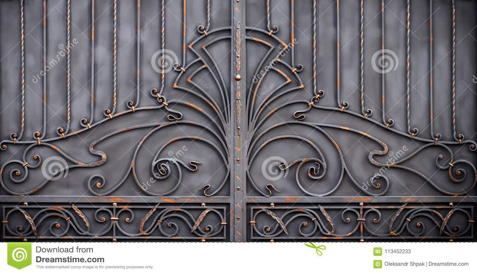 Wspaniałe żelazo bramy, ornamentacyjny skucie, forged eleme