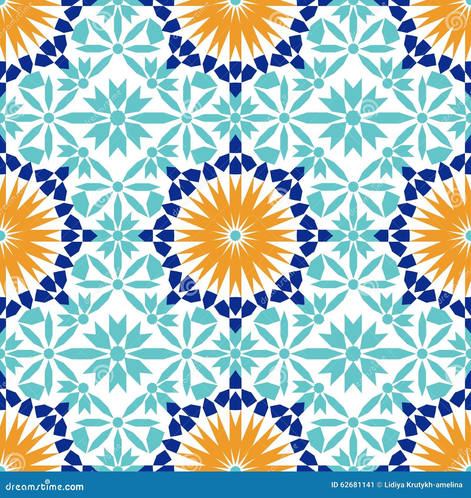 Wspaniały bezszwowy wzór od błękitnych marokańczyk płytek, ornamenty