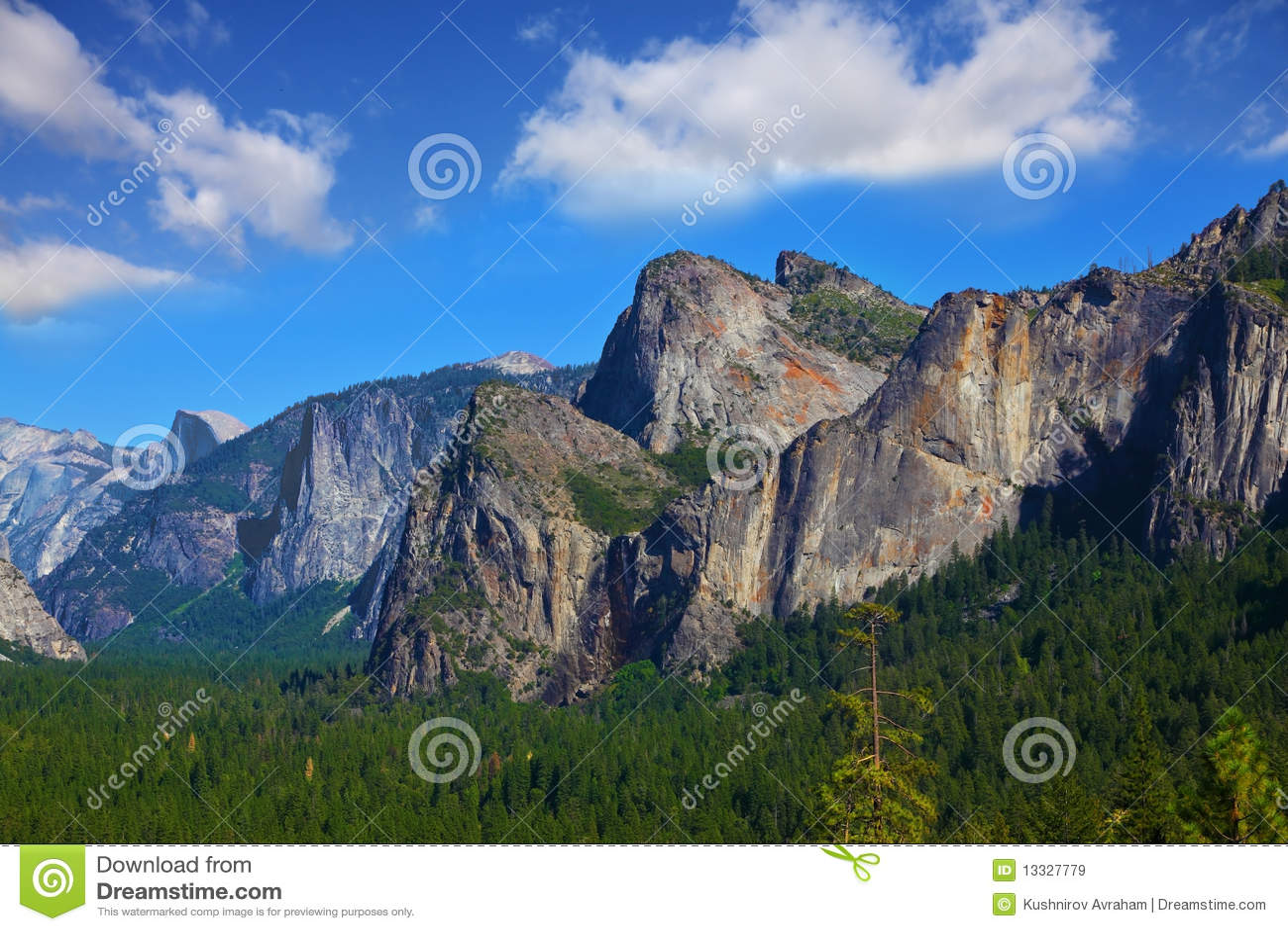 Wspaniały krajowy panoramy parka yosemit