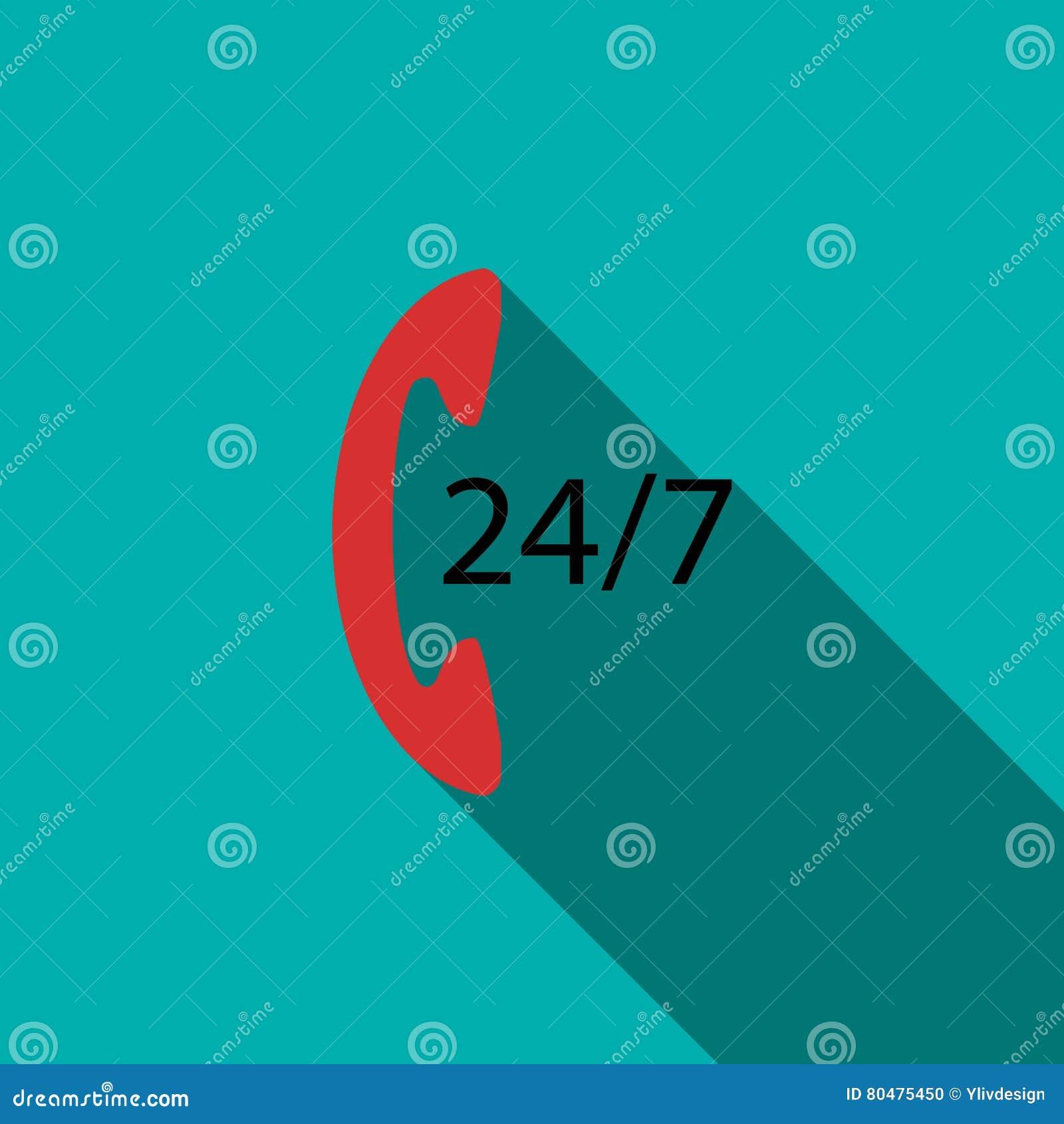 Wspiera centrum telefoniczne 24 godziny ikony, mieszkanie styl