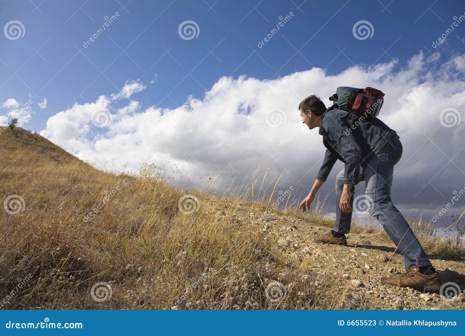 Wspinaczkowi mężczyzna skały potomstwa