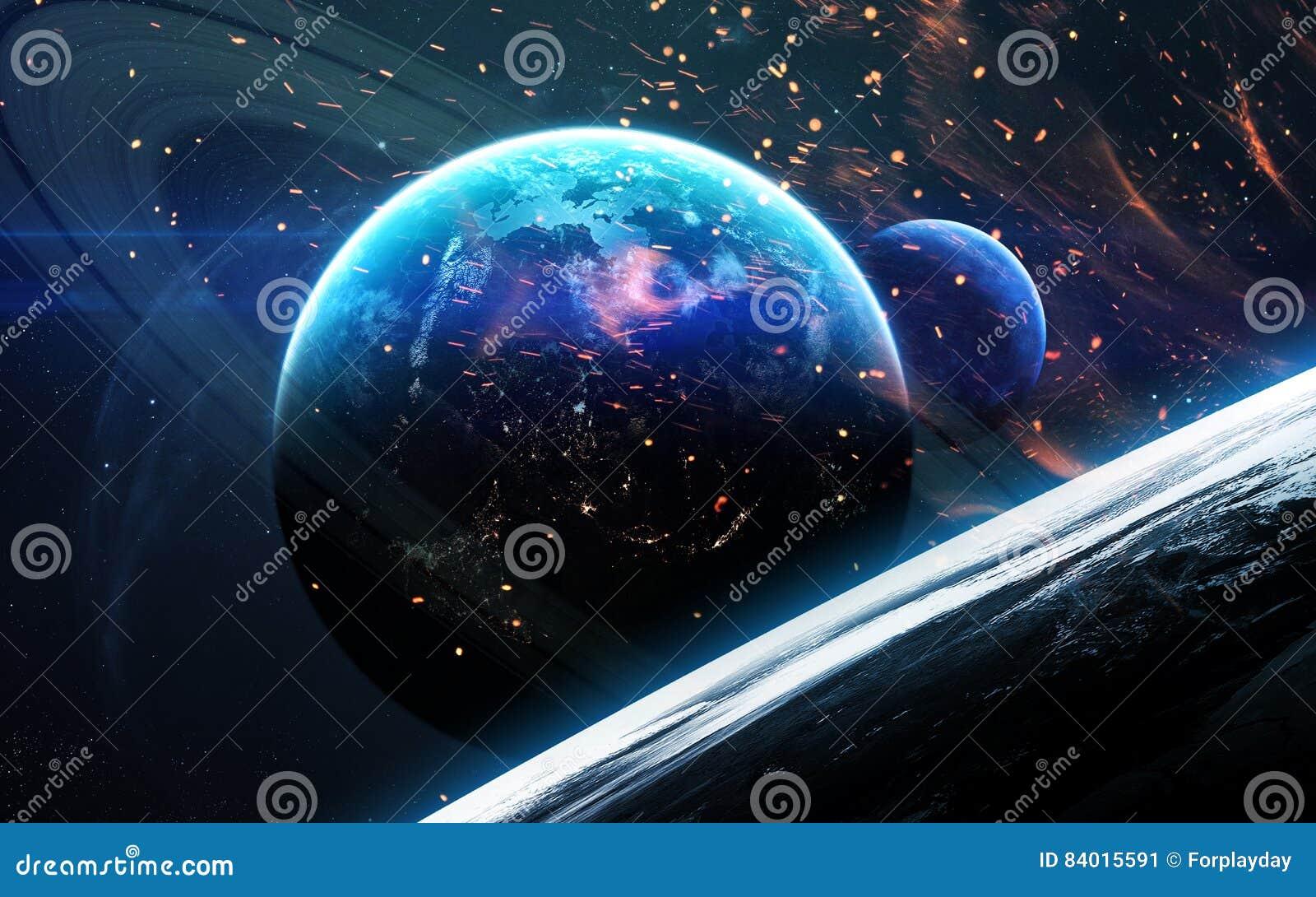 Wszechrzecza scena z planetami, gwiazdami i galaxies w kosmosie pokazuje piękno eksploracja przestrzeni kosmicznej, Elementy mebl