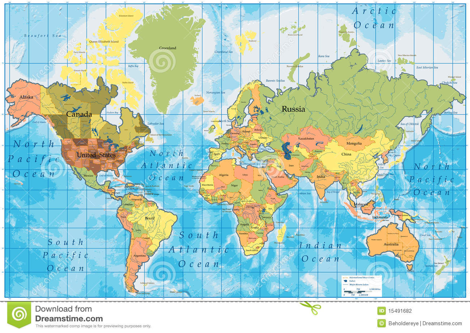 Wszystkie kraje wyszczególniająca mapa wymienia świat