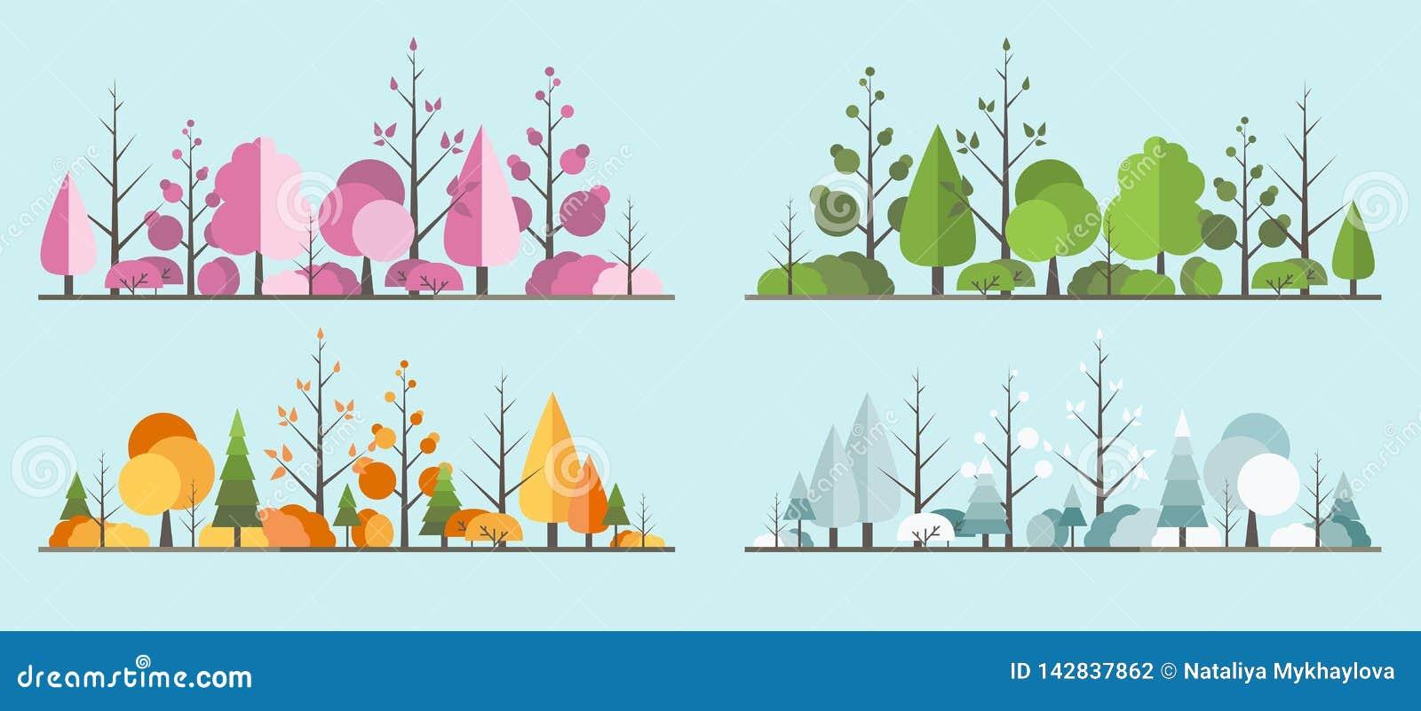 Wszystkie sezonu krajobrazowy drzewo w mieszkanie stylu Piękny park