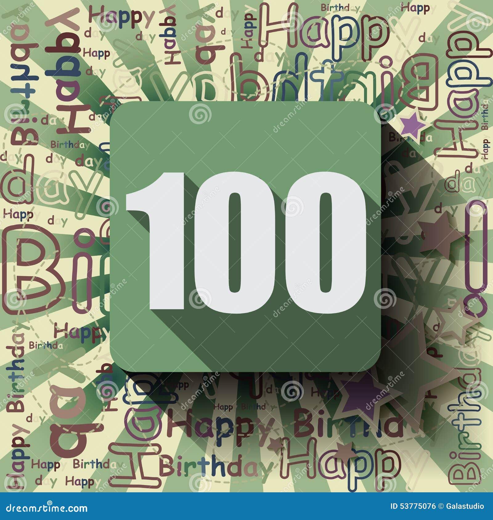 100 wszystkiego najlepszego z okazji urodzin karta lub tło
