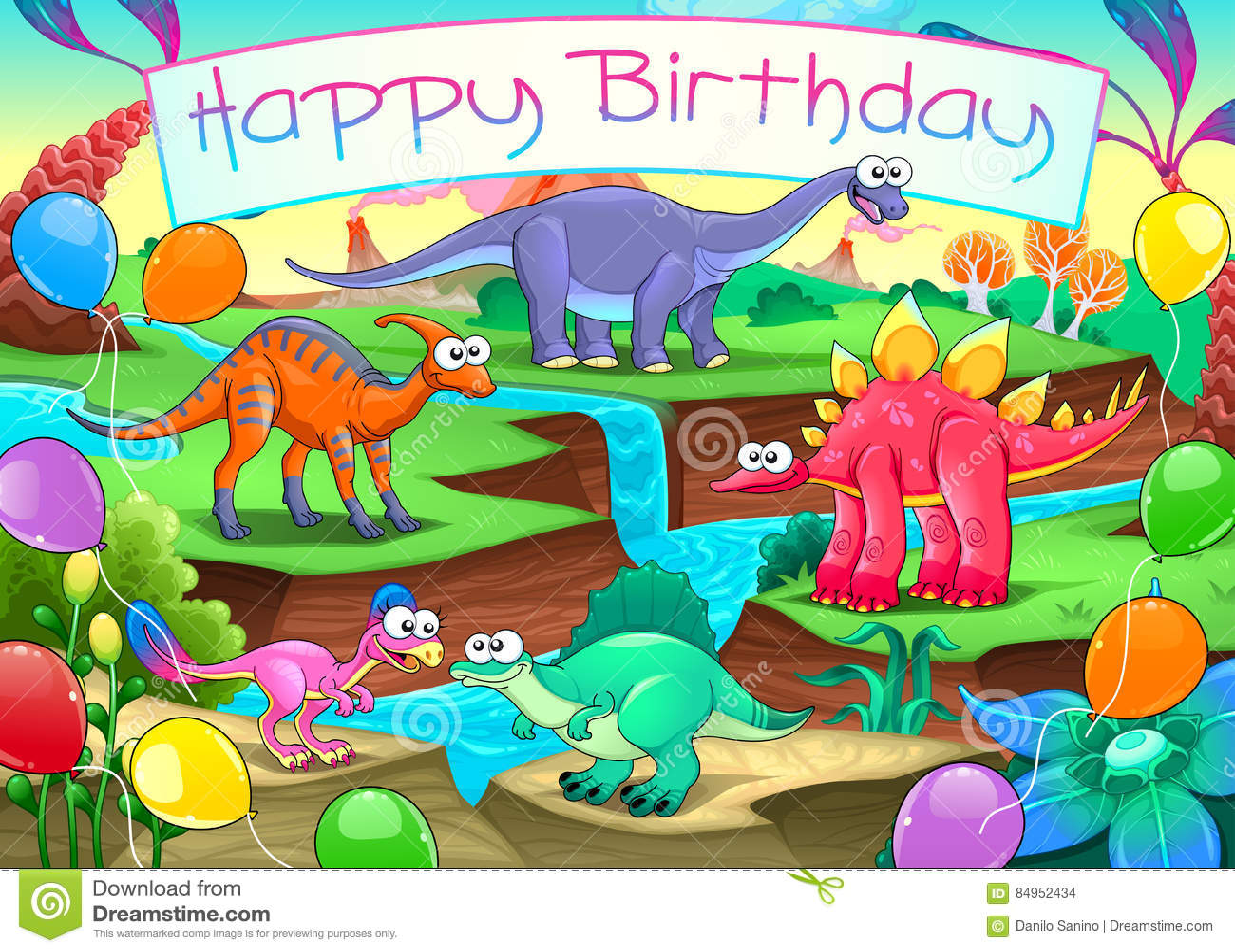 Wszystkiego Najlepszego Z Okazji Urodzin karta z śmiesznymi dinosaurami