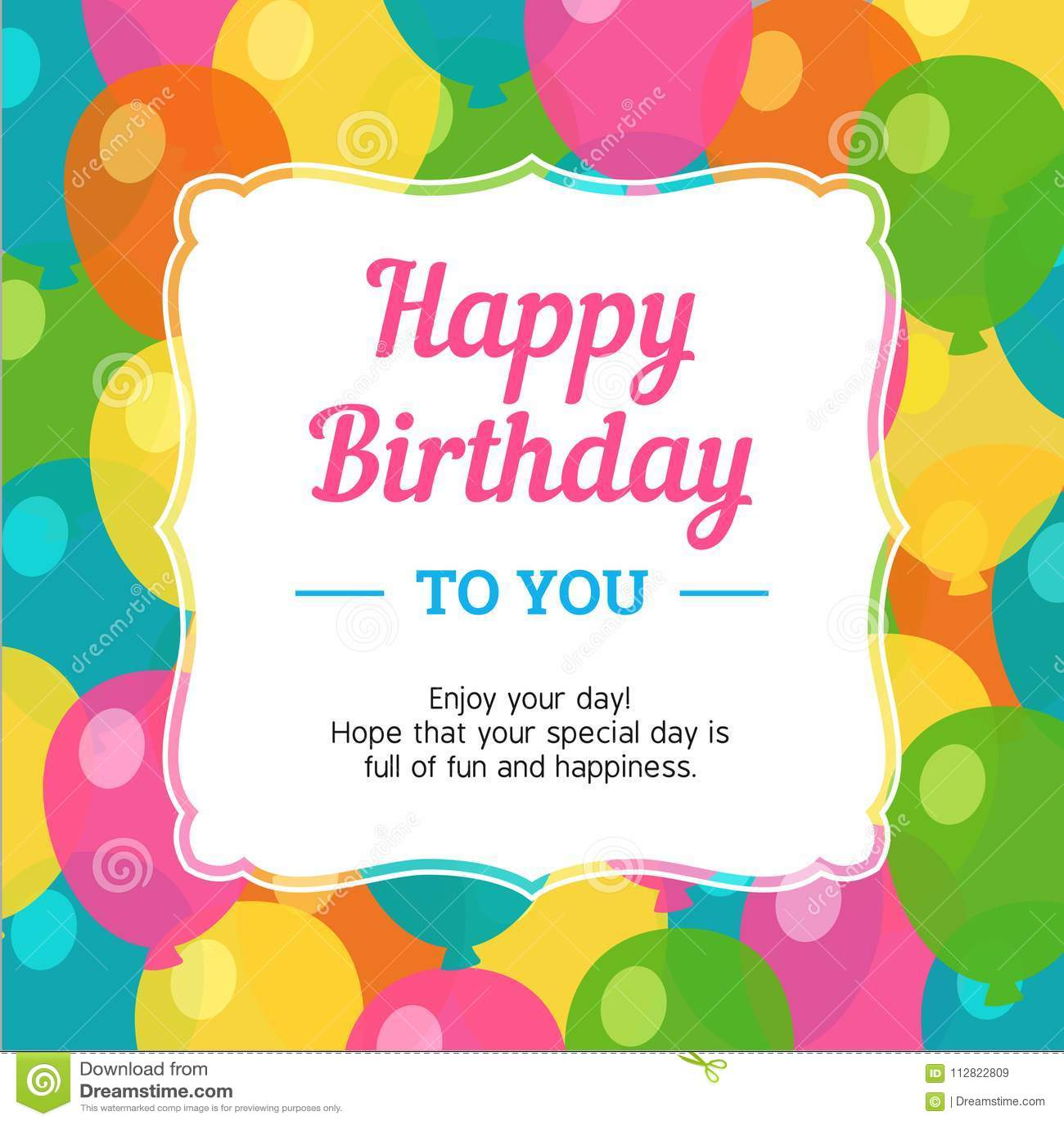 Wszystkiego Najlepszego Z Okazji Urodzin kartka z pozdrowieniami z Kolorowym przyjęcie balonu tłem