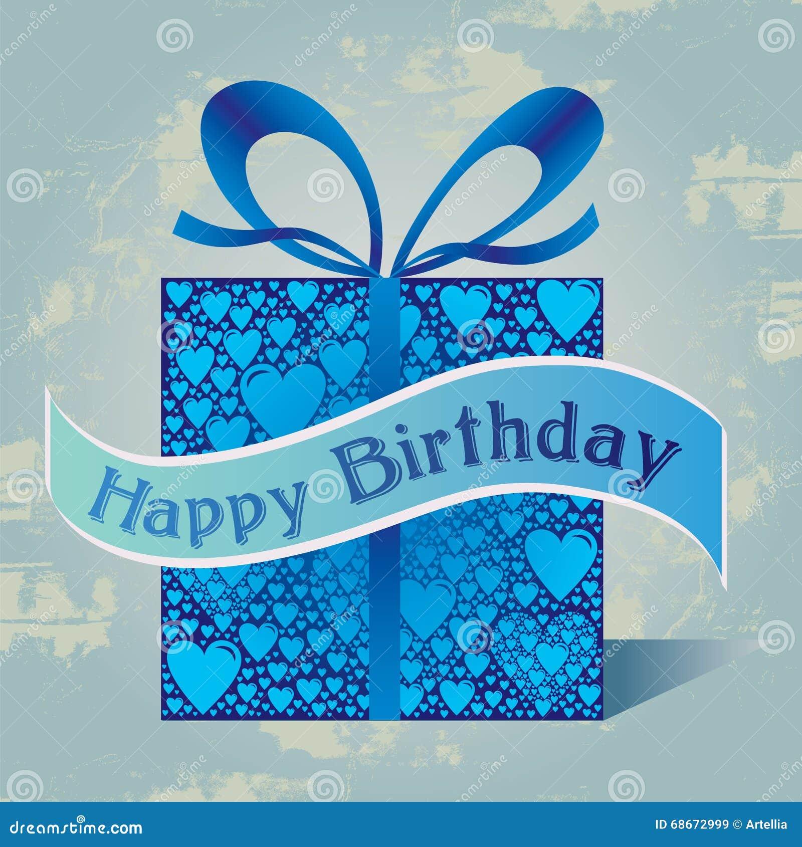 Wszystkiego Najlepszego Z Okazji Urodzin prezenta pudełko z serce wzorem i faborek w Błękitnych kolorach