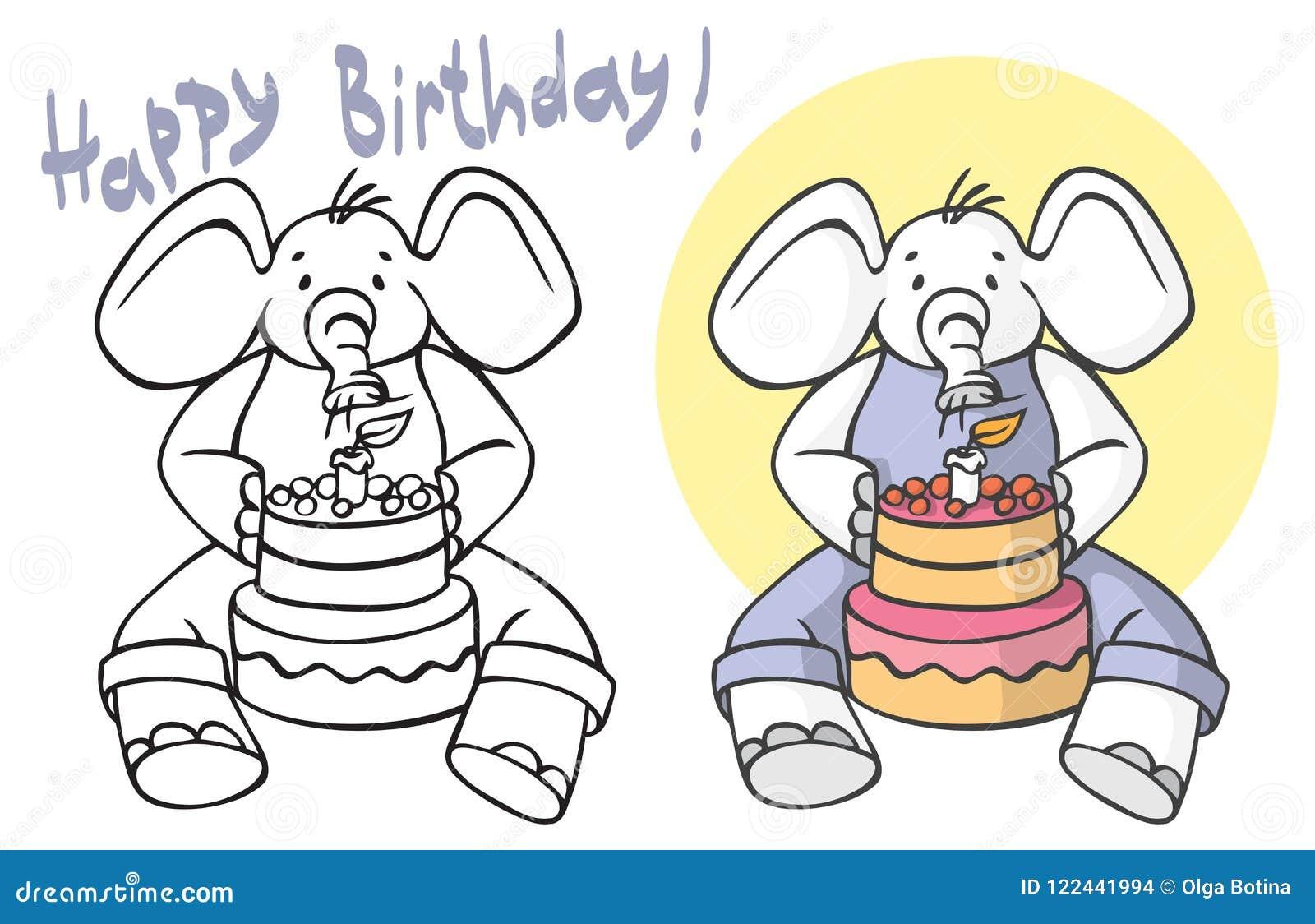 Wszystkiego najlepszego z okazji urodzin słoń dmucha out świeczki na torcie